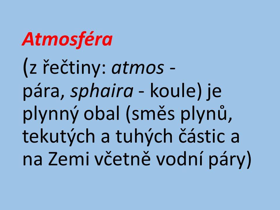 Atmosféra (z řečtiny: atmos - pára, sphaira - koule) je plynný obal (směs plynů, tekutých a tuhých částic a na Zemi včetně vodní páry)