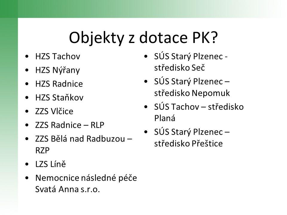 Objekty z dotace PK HZS Tachov SÚS Starý Plzenec - středisko Seč