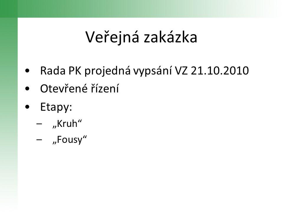 Veřejná zakázka Rada PK projedná vypsání VZ 21.10.2010 Otevřené řízení