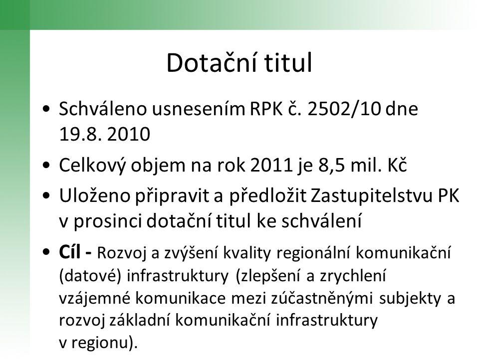 Dotační titul Schváleno usnesením RPK č. 2502/10 dne 19.8. 2010