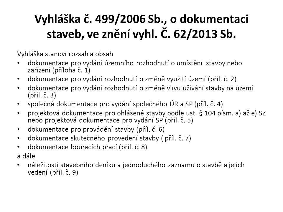 Vyhláška č. 499/2006 Sb. , o dokumentaci staveb, ve znění vyhl. Č