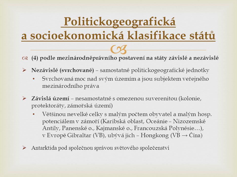 Politickogeografická a socioekonomická klasifikace států
