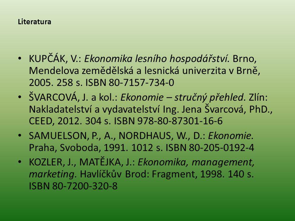 Literatura KUPČÁK, V.: Ekonomika lesního hospodářství. Brno, Mendelova zemědělská a lesnická univerzita v Brně, 2005. 258 s. ISBN 80-7157-734-0.