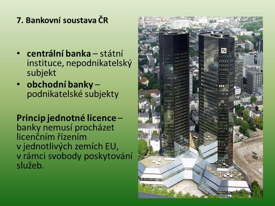 centrální banka – státní instituce, nepodnikatelský subjekt