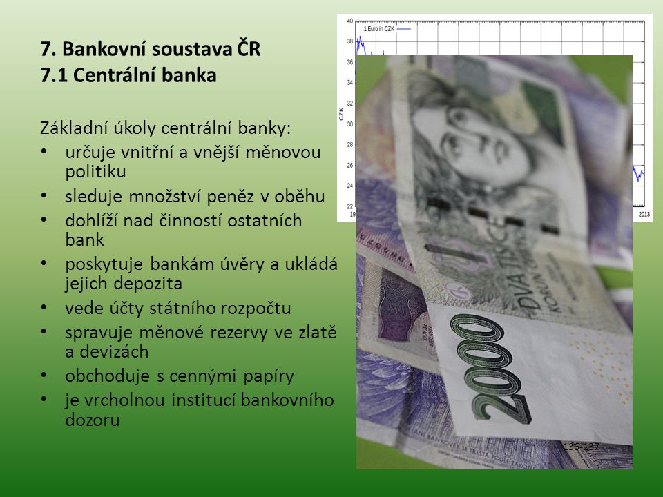 7. Bankovní soustava ČR 7.1 Centrální banka
