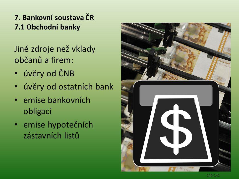 7. Bankovní soustava ČR 7.1 Obchodní banky