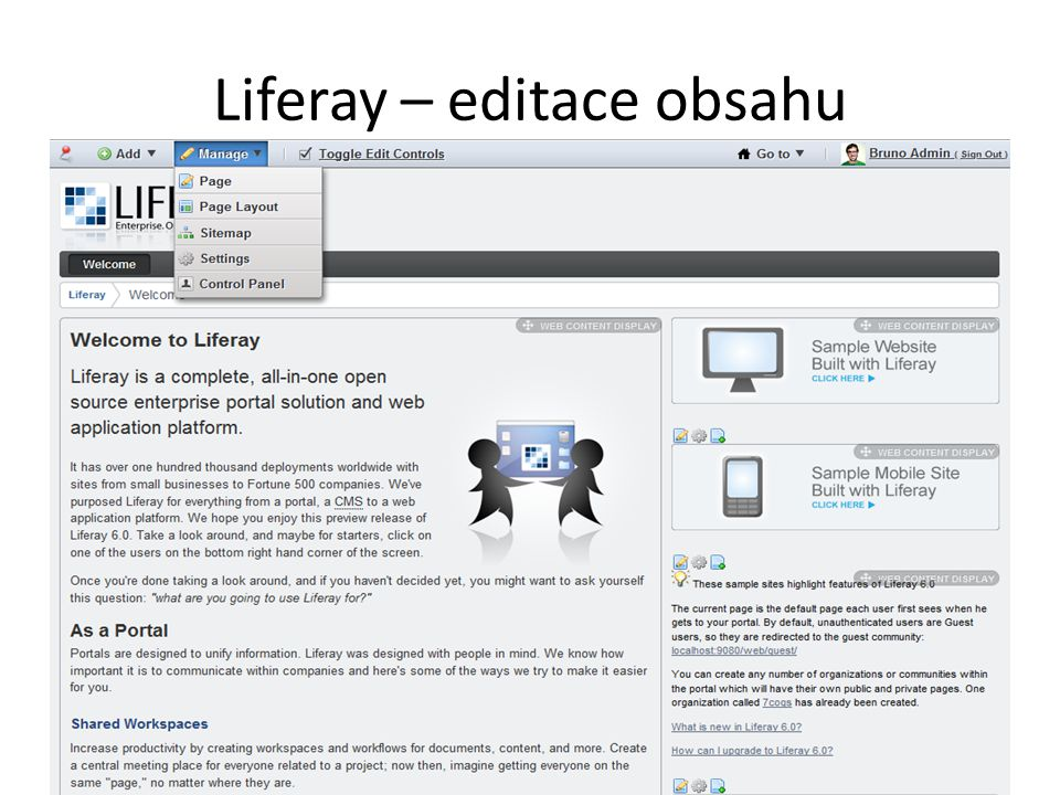 Liferay – editace obsahu