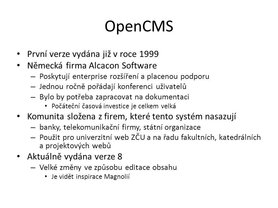 OpenCMS První verze vydána již v roce 1999