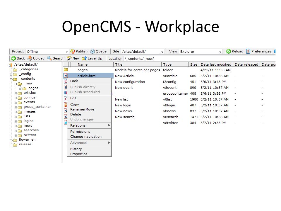 OpenCMS - Workplace