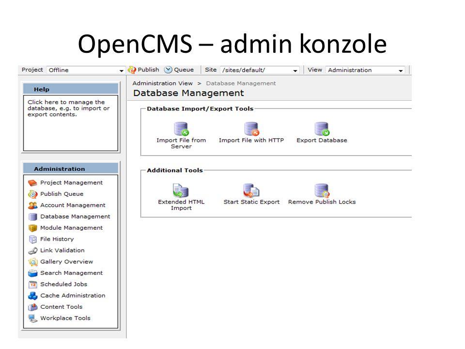OpenCMS – admin konzole
