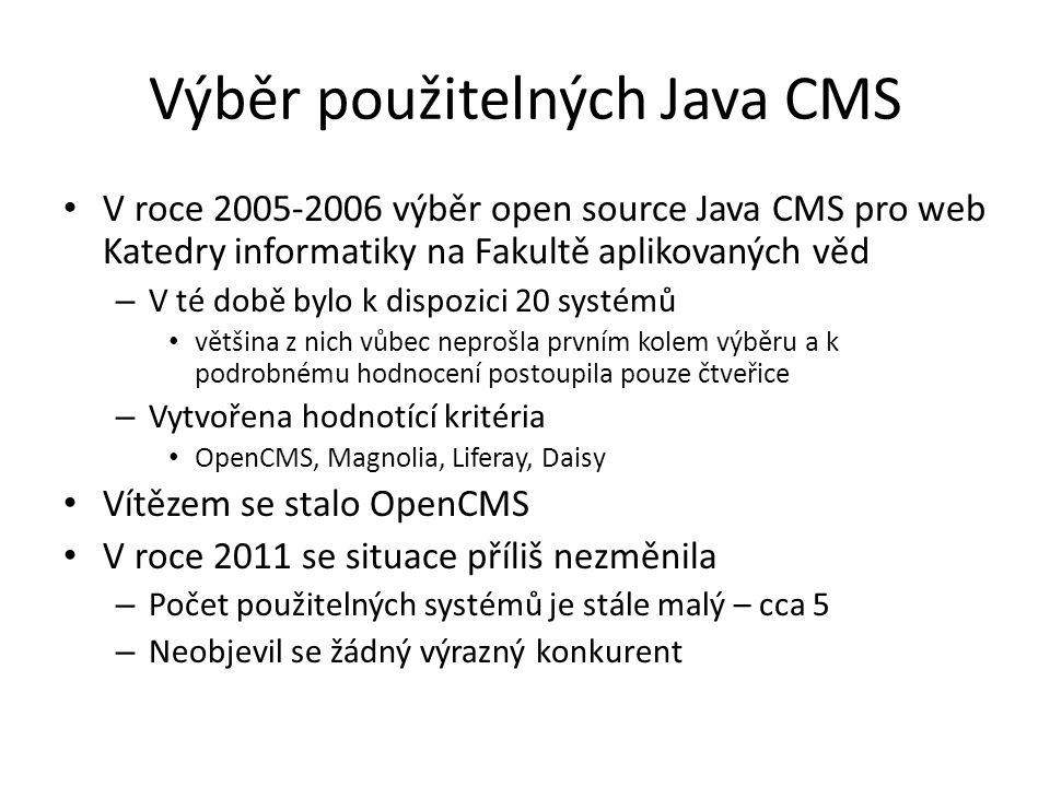 Výběr použitelných Java CMS