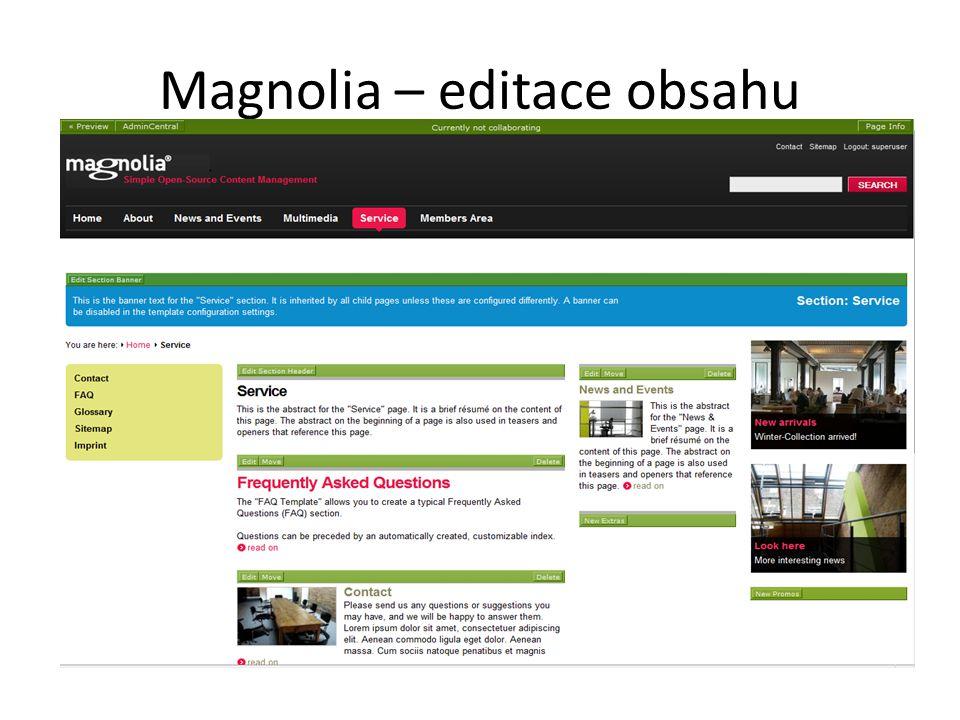 Magnolia – editace obsahu