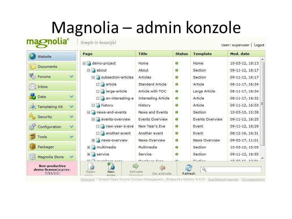 Magnolia – admin konzole