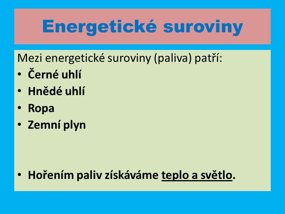 Energetické suroviny Mezi energetické suroviny (paliva) patří: