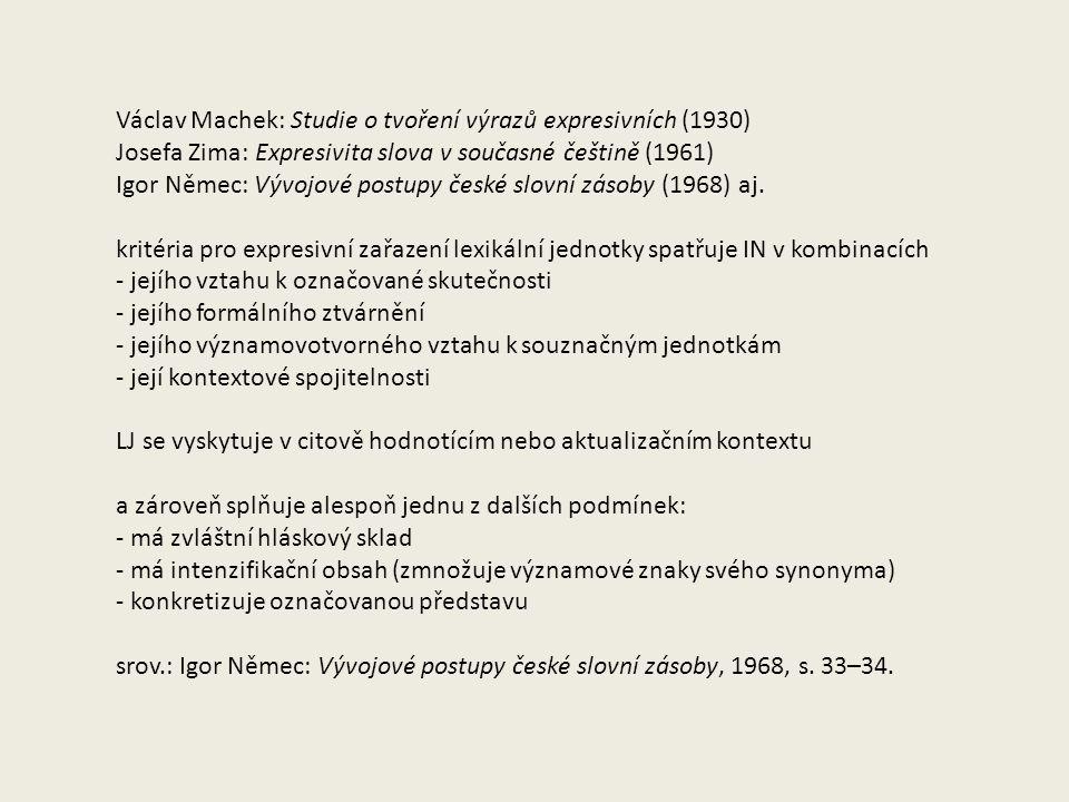 Václav Machek: Studie o tvoření výrazů expresivních (1930)