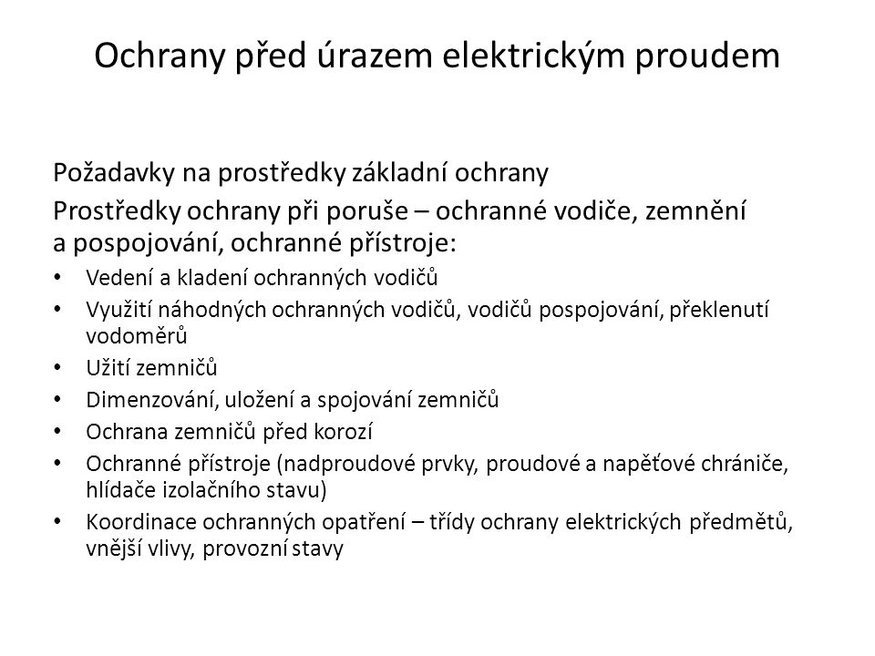Ochrany před úrazem elektrickým proudem