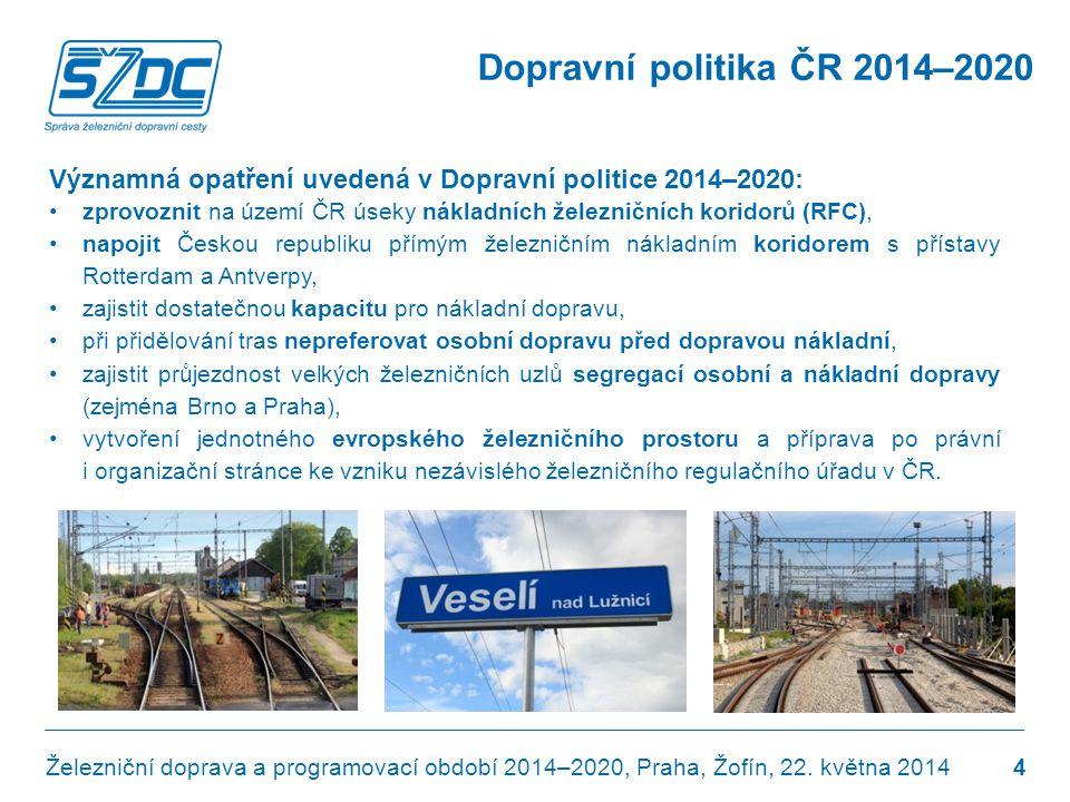 Dopravní politika ČR 2014–2020 Významná opatření uvedená v Dopravní politice 2014–2020: