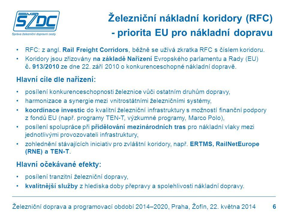 Železniční nákladní koridory (RFC) - priorita EU pro nákladní dopravu