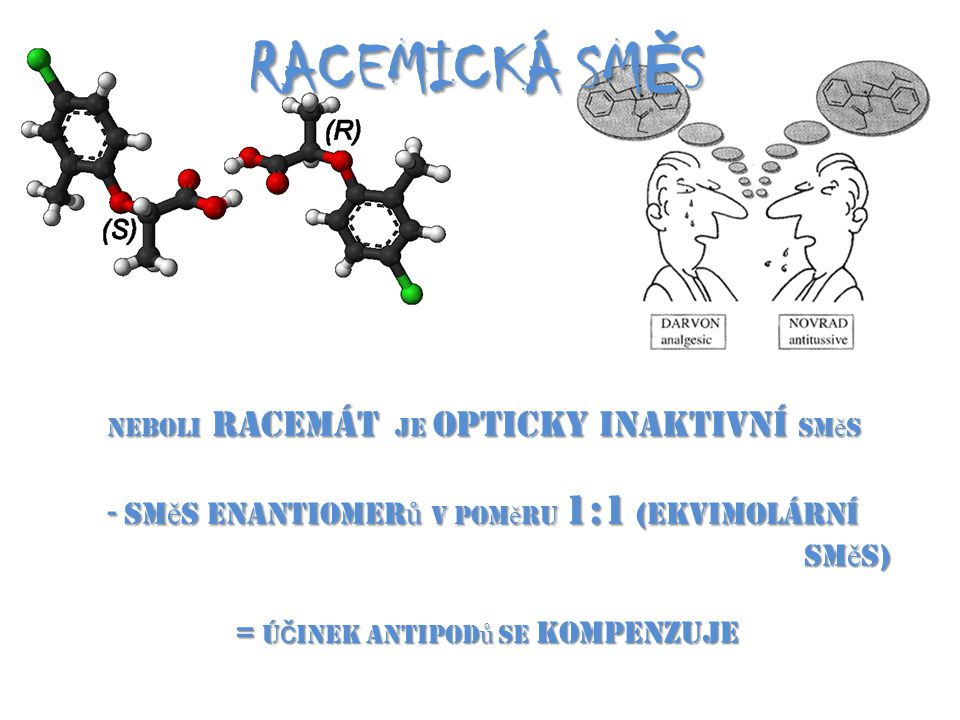RACEMICKÁ SMĚS směs enantiomerů v poměru 1:1 (ekvimolární směs)