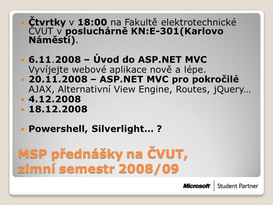 MSP přednášky na ČVUT, zimní semestr 2008/09