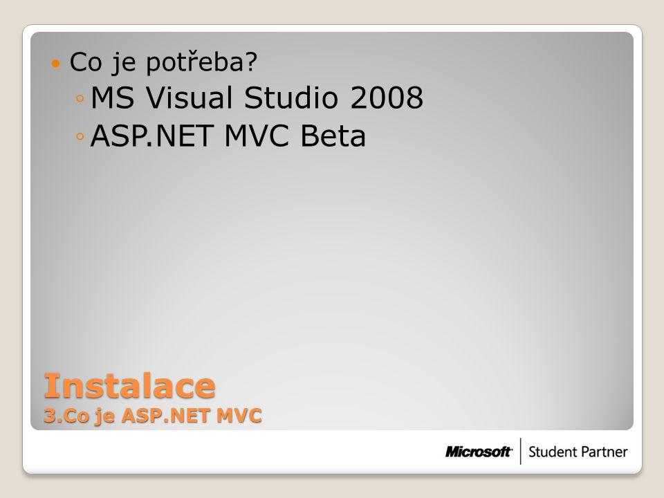 Instalace 3.Co je ASP.NET MVC