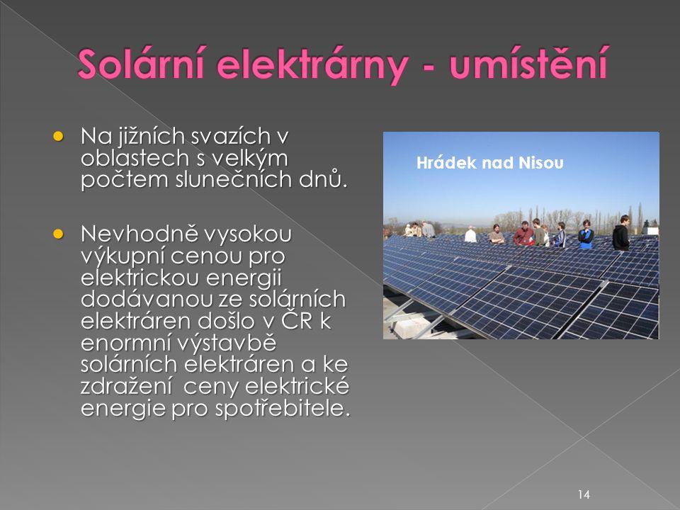 Solární elektrárny - umístění