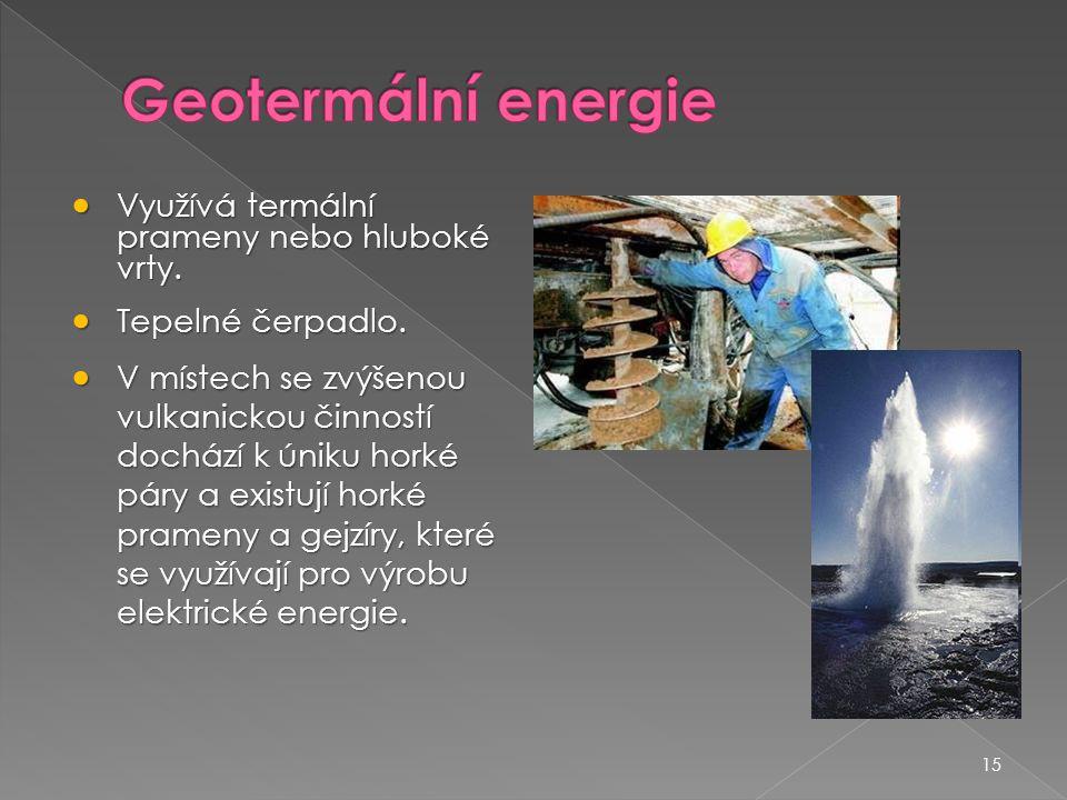 Geotermální energie Využívá termální prameny nebo hluboké vrty.