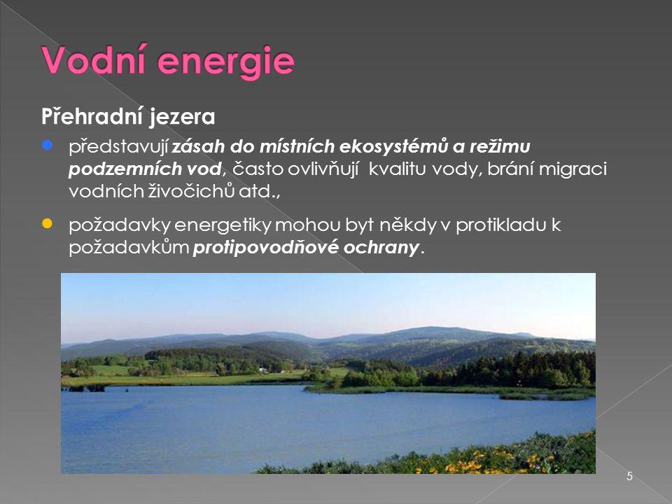 Vodní energie Přehradní jezera