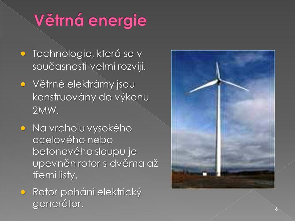 Větrná energie Technologie, která se v současnosti velmi rozvíjí.