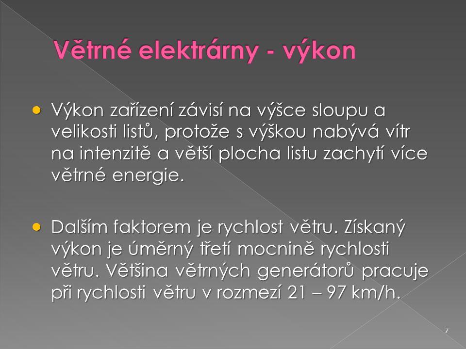 Větrné elektrárny - výkon
