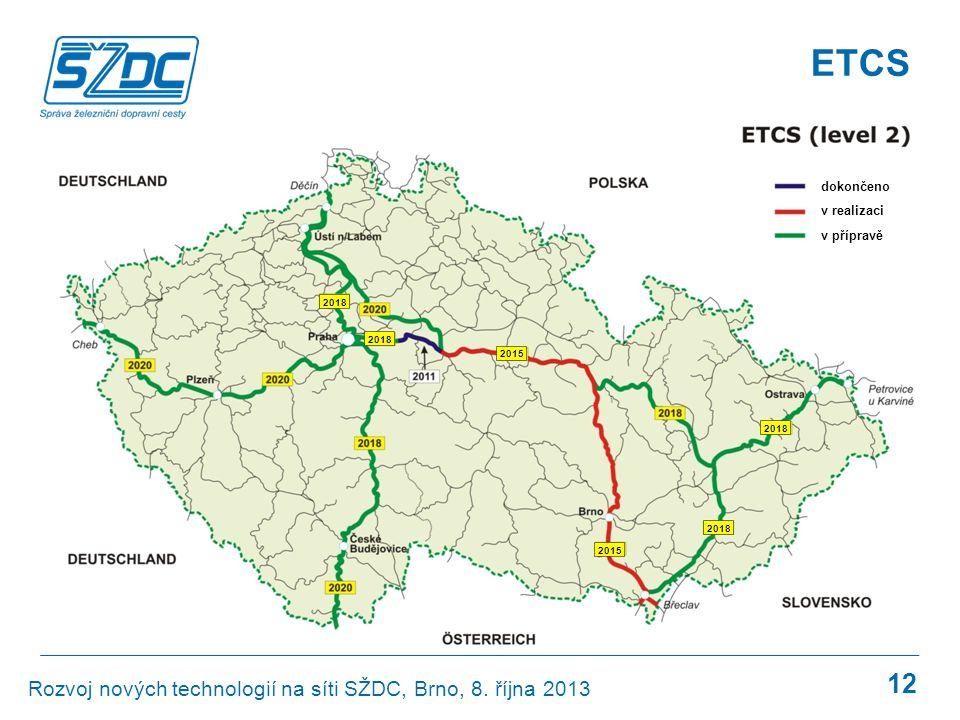 ETCS GSM-R Rozvoj nových technologií na síti SŽDC, Brno, 8. října 2013