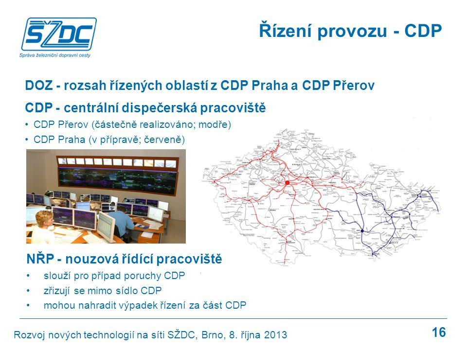 Řízení provozu - CDP DOZ - rozsah řízených oblastí z CDP Praha a CDP Přerov. CDP - centrální dispečerská pracoviště.