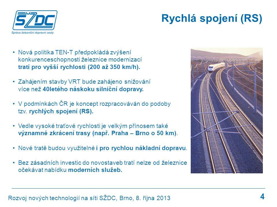 Rychlá spojení (RS) Nová politika TEN-T předpokládá zvýšení konkurenceschopnosti železnice modernizací tratí pro vyšší rychlosti (200 až 350 km/h).