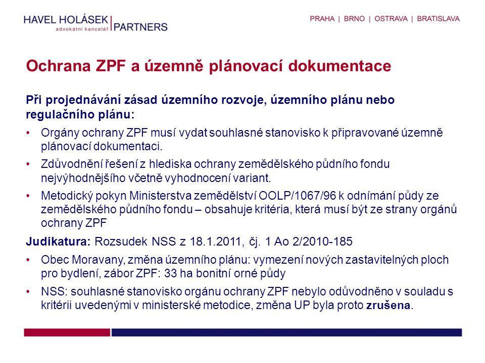 Ochrana ZPF a územně plánovací dokumentace