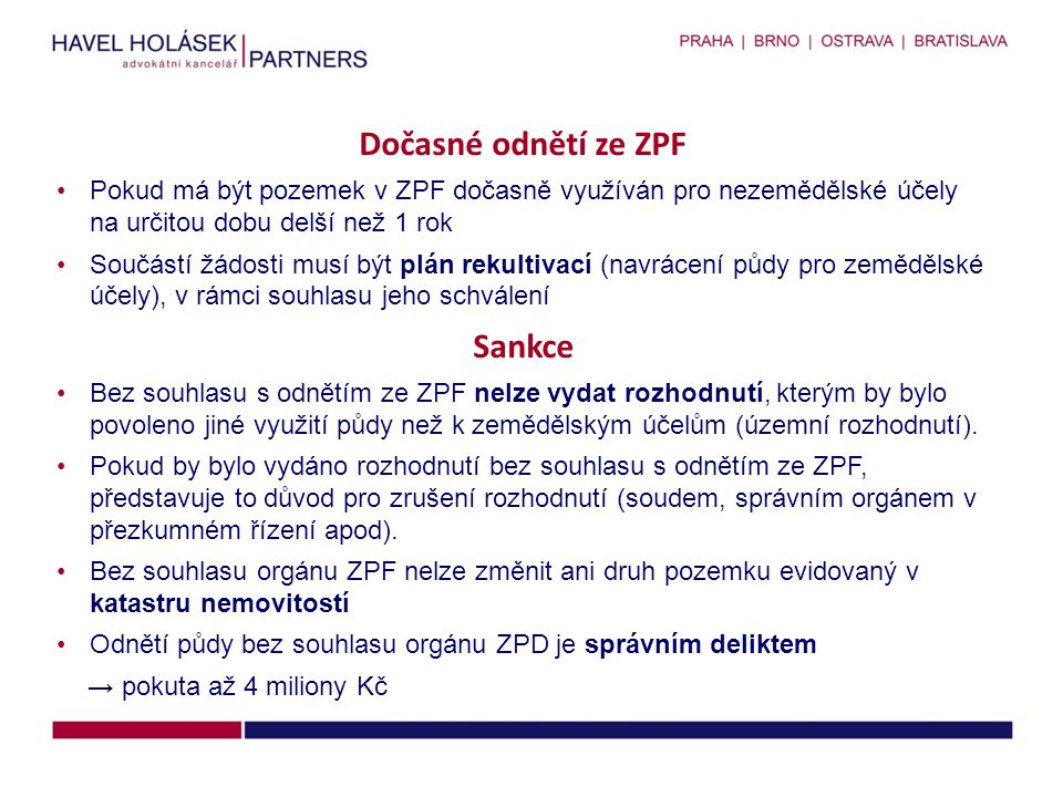 Dočasné odnětí ze ZPF Sankce