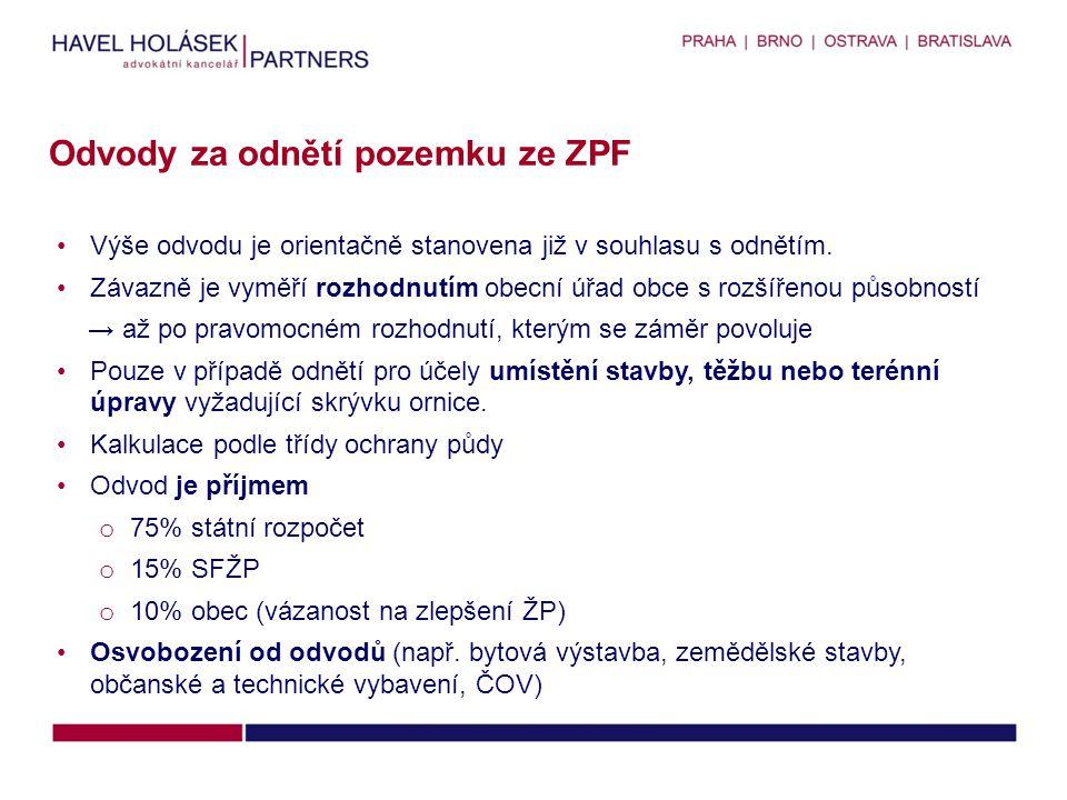 Odvody za odnětí pozemku ze ZPF