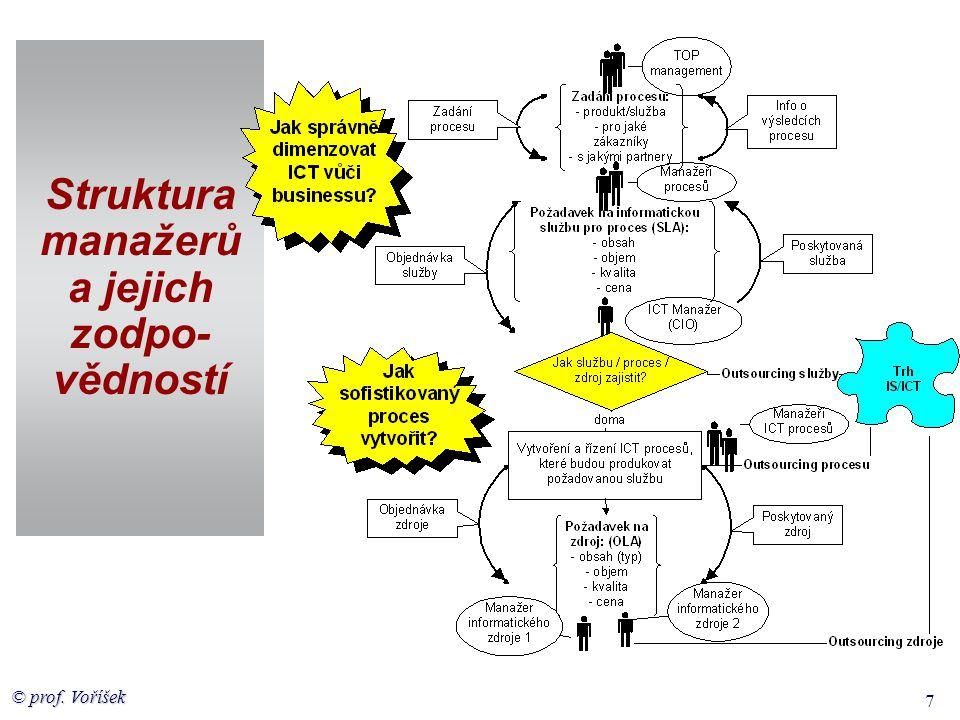 Struktura manažerů a jejich zodpo-vědností