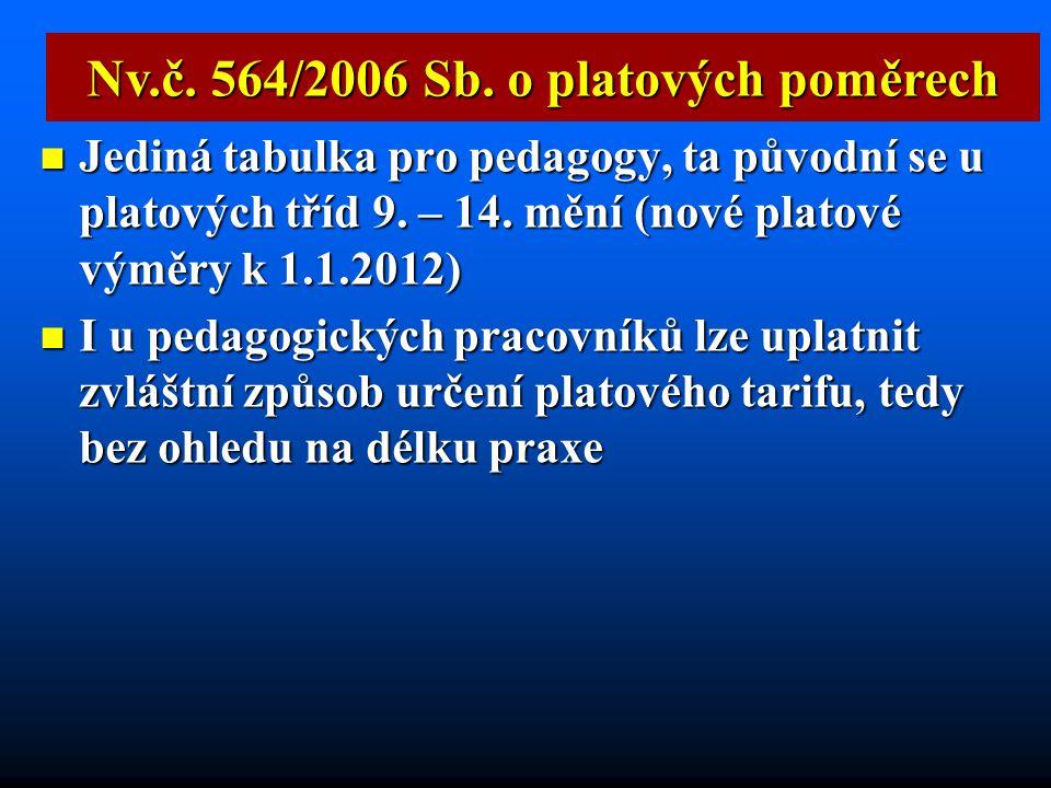 Nv.č. 564/2006 Sb. o platových poměrech