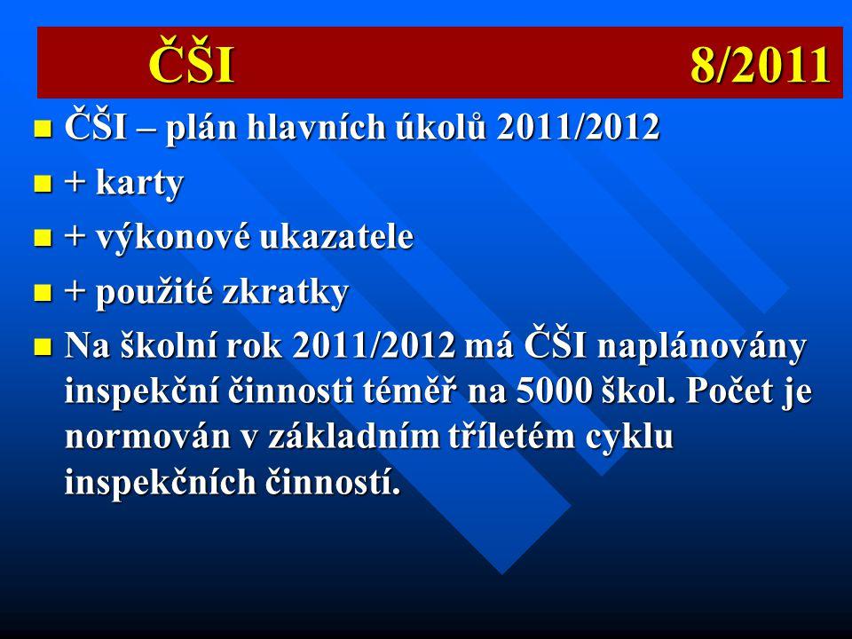 ČŠI 8/2011 ČŠI – plán hlavních úkolů 2011/2012 + karty