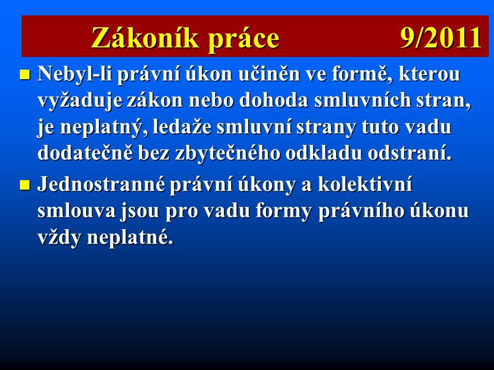 Zákoník práce 9/2011