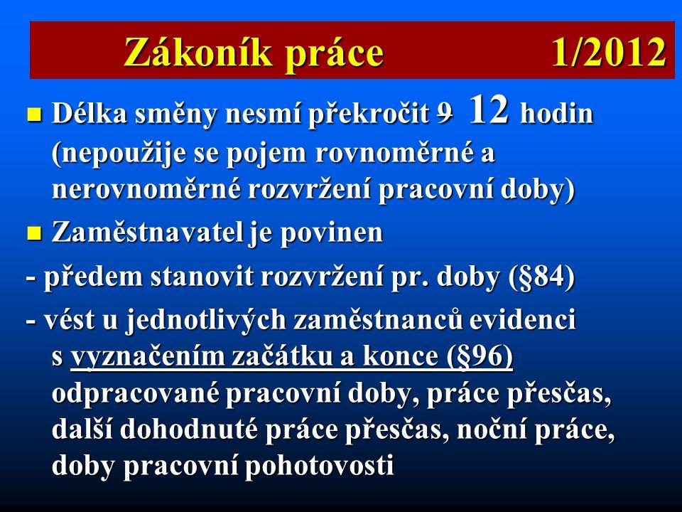 Zákoník práce 1/2012 Délka směny nesmí překročit 9 12 hodin (nepoužije se pojem rovnoměrné a nerovnoměrné rozvržení pracovní doby)