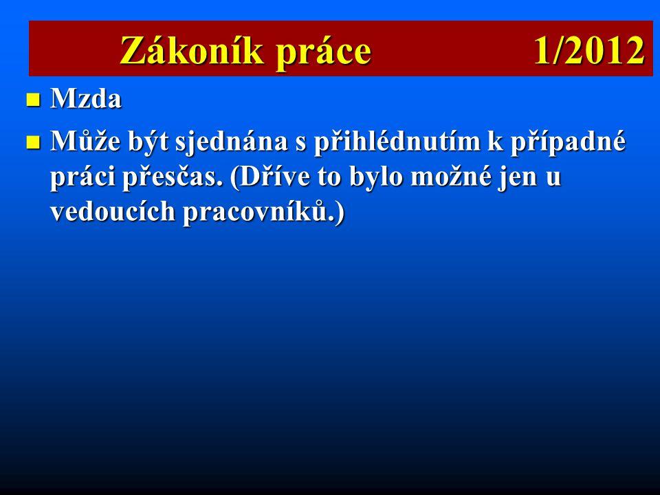 Zákoník práce 1/2012 Mzda.