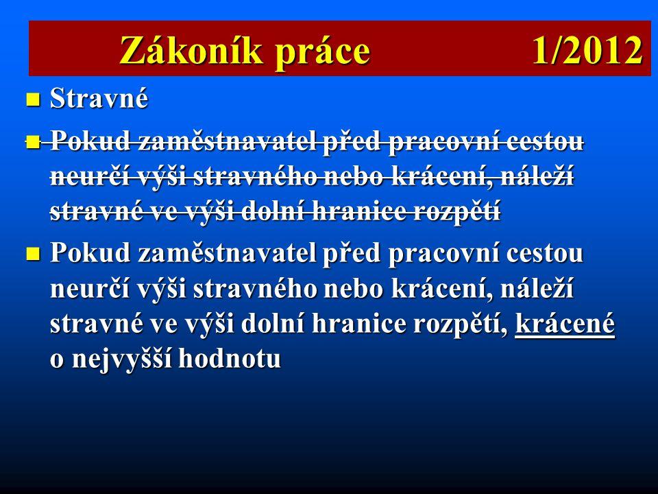 Zákoník práce 1/2012 Stravné