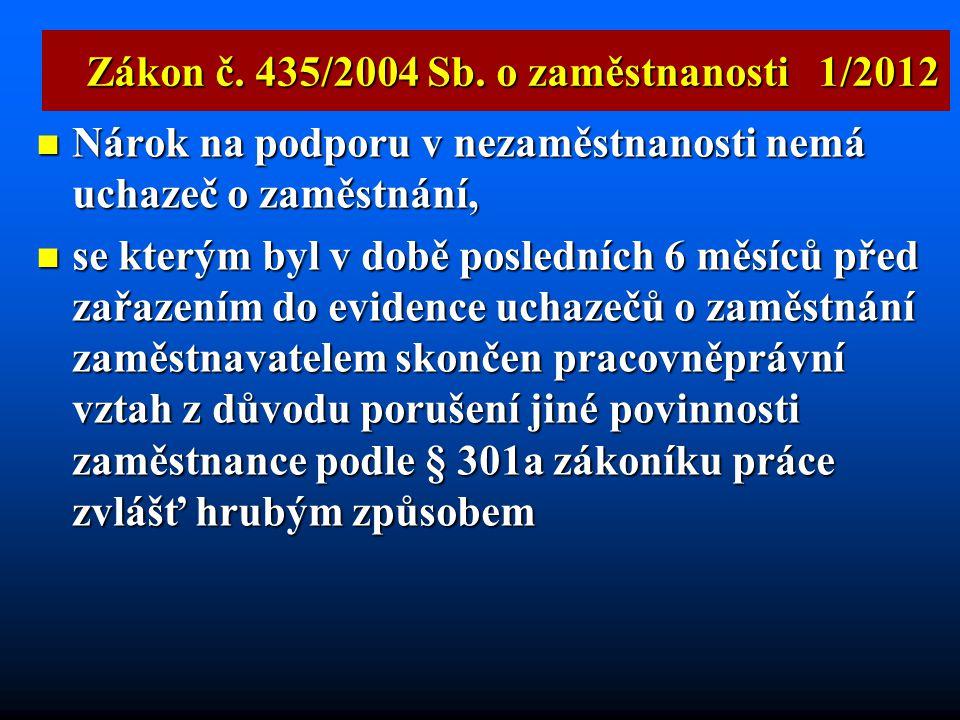 Zákon č. 435/2004 Sb. o zaměstnanosti 1/2012