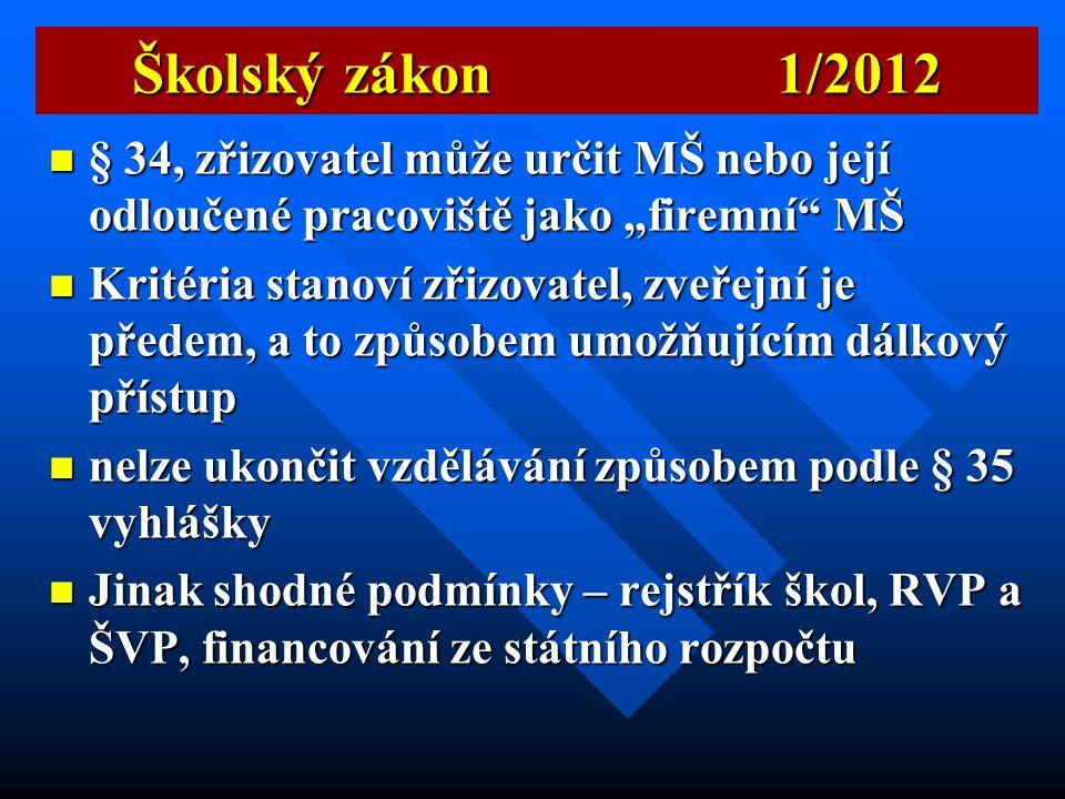 """Školský zákon 1/2012 § 34, zřizovatel může určit MŠ nebo její odloučené pracoviště jako """"firemní MŠ."""