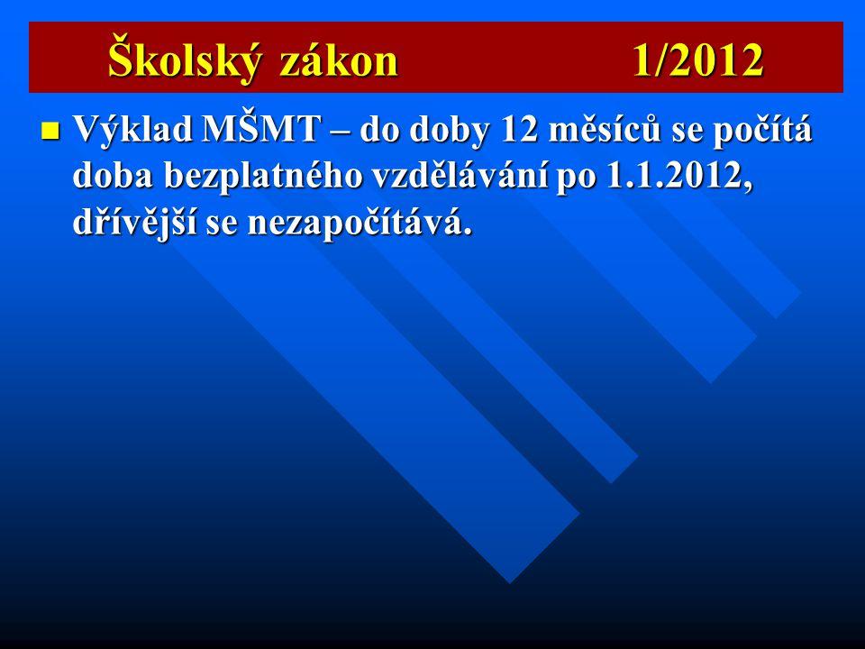 Školský zákon 1/2012 Výklad MŠMT – do doby 12 měsíců se počítá doba bezplatného vzdělávání po 1.1.2012, dřívější se nezapočítává.