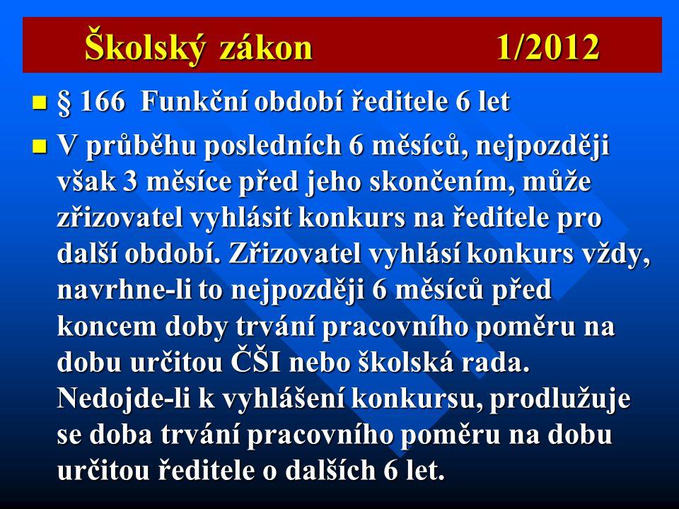 Školský zákon 1/2012 § 166 Funkční období ředitele 6 let