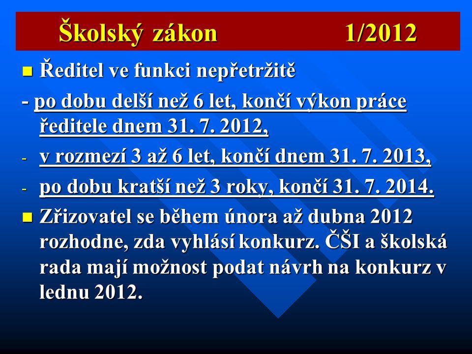 Školský zákon 1/2012 Ředitel ve funkci nepřetržitě