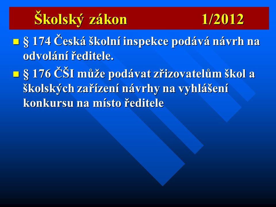 Školský zákon 1/2012 § 174 Česká školní inspekce podává návrh na odvolání ředitele.