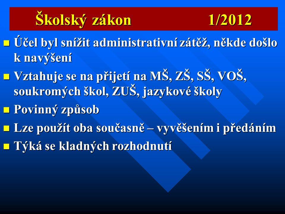 Školský zákon 1/2012 Účel byl snížit administrativní zátěž, někde došlo k navýšení.